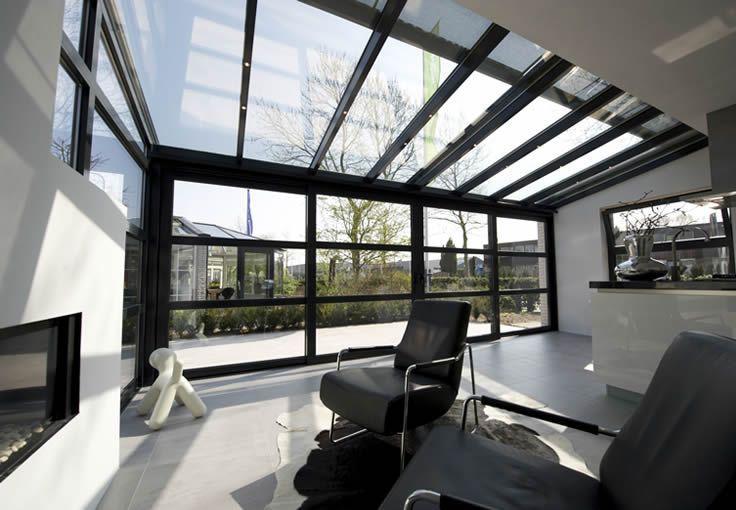 Dit is een mooie strakke serre we willen een mooie serre maken in een vissenstaartvorm omdat - Veranda modern huis ...