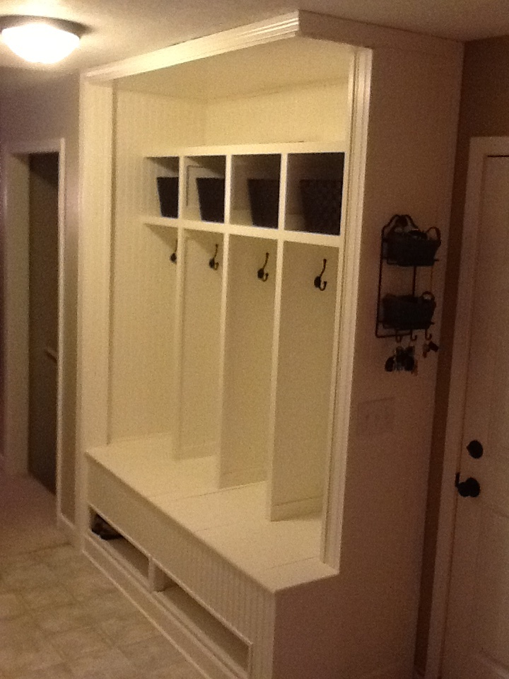 Bench Entry Lockers Cubbies On A Whim A Few Weeks Ago My Wife And I Ripped Out 2 3 Foot Wide