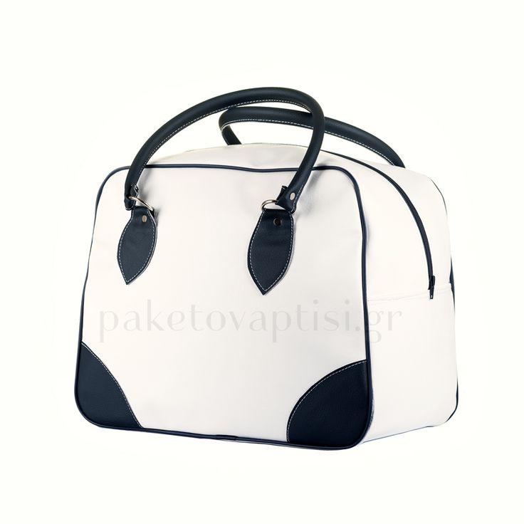 Τσάντα Βάπτισης Ορθογώνια Λευκή Μπλε Δερματίνη
