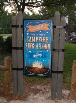Free Camp Fire Sing-A-Long with Chip and Dale  at the  Walt Disney World Fort Wilderness Campground