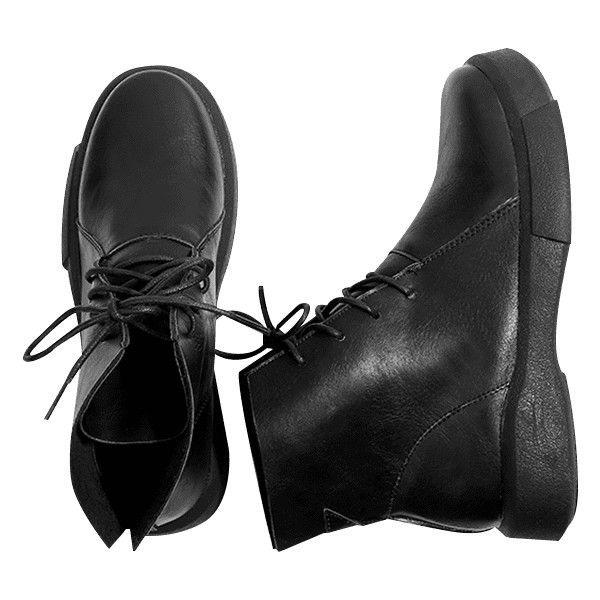 Black 36 PU Leather Lace Up Boots ($22) ❤ liked on Polyvore featuring shoes, boots, kohl boots, kohl shoes, pu shoes, polyurethane shoes and black boots