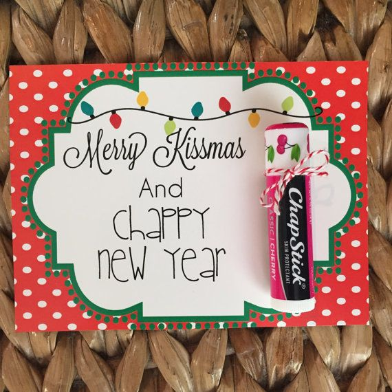 """Christmas PRINTABLE 'Merry Kissmas and choppy New Year"""" by SweetTeaPaper.  Chapstick gift for teacher, friend, neighbor..."""