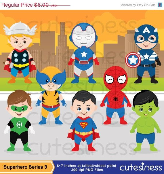 50  off sale superhero digital clipart  cute superhero