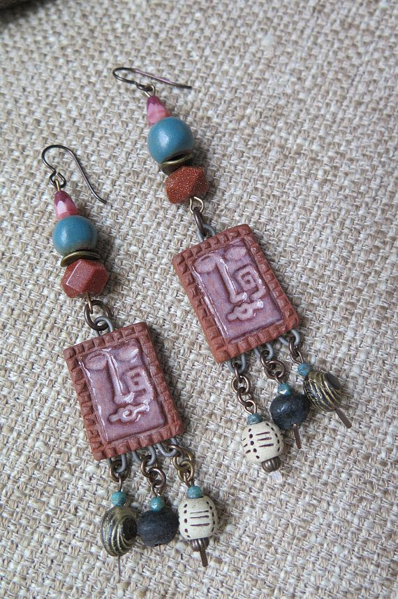 May 2017 ABS Challenge Expression Earrings by Michelle McEnroe Art Beads by HappyFishThings and Kiyoi Deisgn