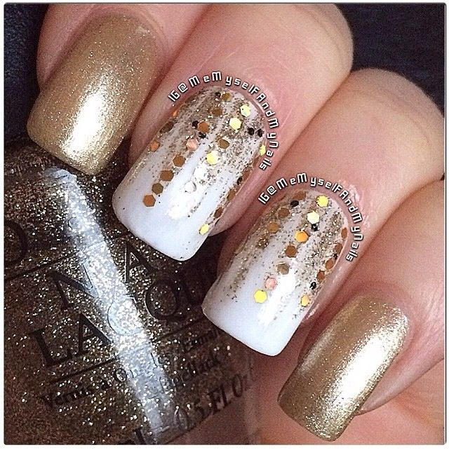 OPI's *Alpine Snow*, *All Sparkly And Gold* and *Wonderous Star*