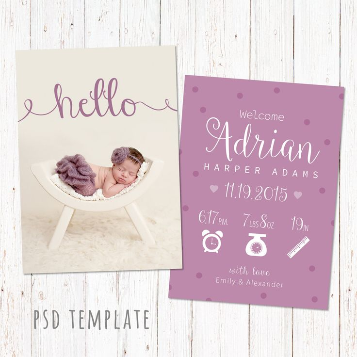 Birth announcement template card. Digital baby girl birth card for instant download. Fully editable photoshop PSD files. Size 5x7. by GraphicCorner on Etsy