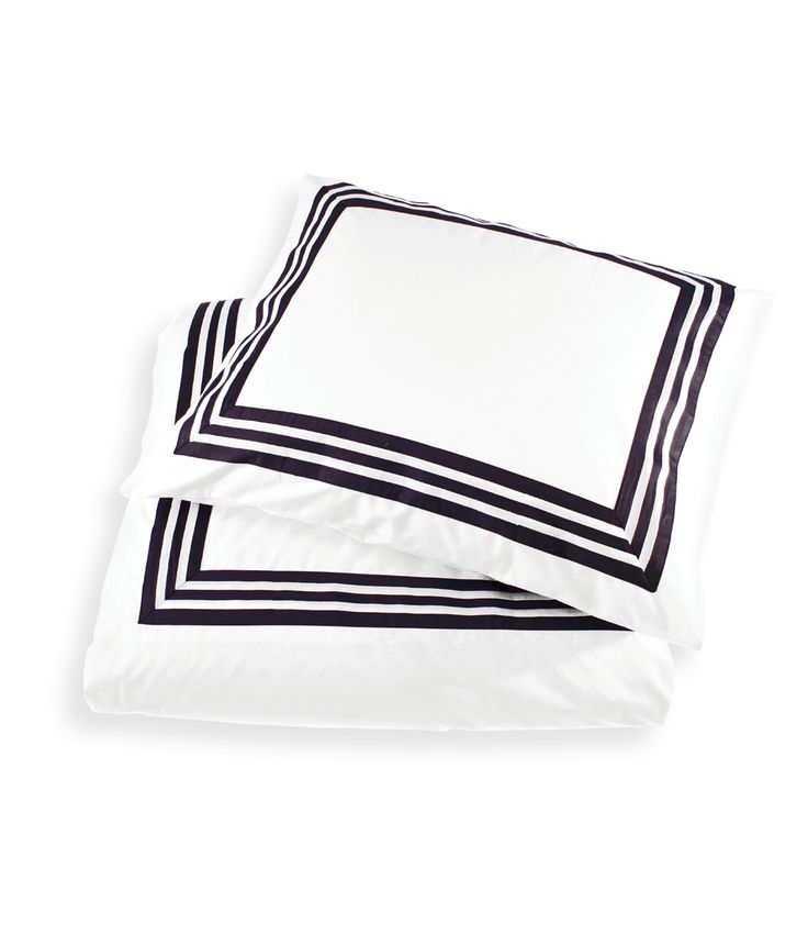 Key West Bedding - Percale 100% Cotton. 200 TC. Bed linen in crisp white with dark navy striped border with a classic nautical twist. By Newport Collection