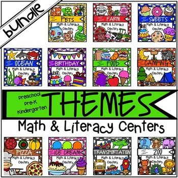 Theme Centers:  Theme Centers (math and literacy) is a bundle that will has 11 themed math and literacy center packs! Each theme is loaded with fun, hands on activities to help your students build math and literacy concepts! Over 1000 pages!