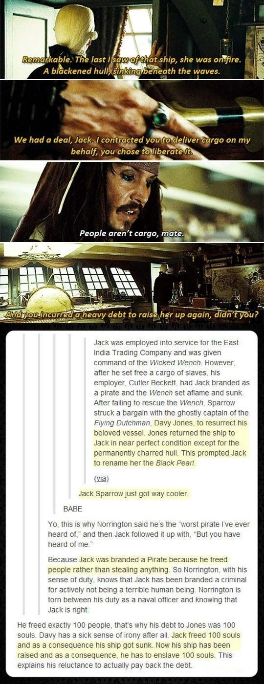 The scene, which is from Pirates of the Caribbean 3: At World's End, explains that Jack was employed by the East India Trading Company when the villainous Cutler Beckett told him to transport 100 slaves on board his ship, the Wicked Wench. Jack refused, so Cutler burned his ship and branded him a pirate.In order to get his ship back, Jack struck a deal with Davy Jones. Thus, the Black Pearl was born.