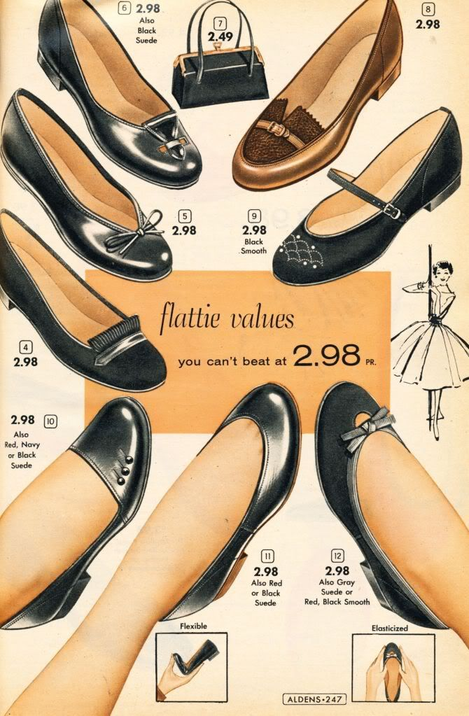 Surprisingly modern black flats from  Aldens Catalog 1956-57