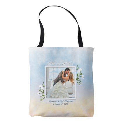 Elegant Add Your Own Photo Wedding Tote Bag - anniversary cyo diy gift idea presents party celebration