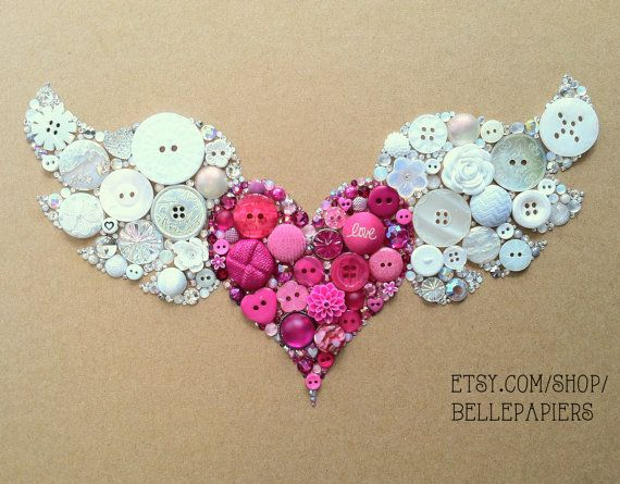 8x10 Winged Heart Flying Heart Buttons & Swarovski Rhinestones Wall Art Button Art