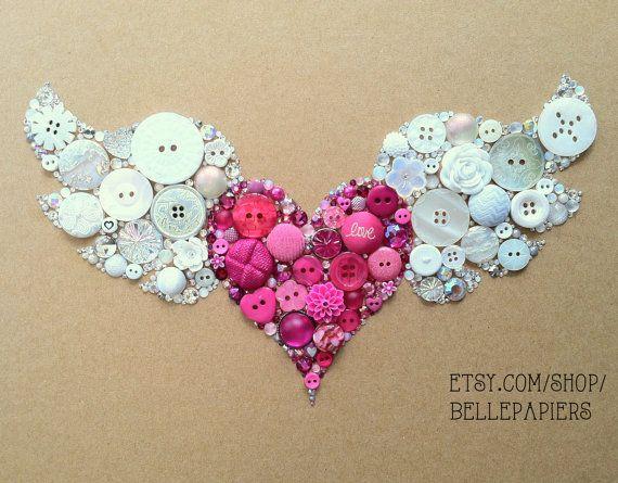 8 x 10 corazón con alas volando corazón botones & por BellePapiers, $189.00