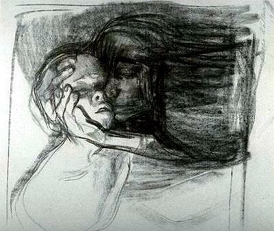 Käthe Kollwitz, charcoal sketch