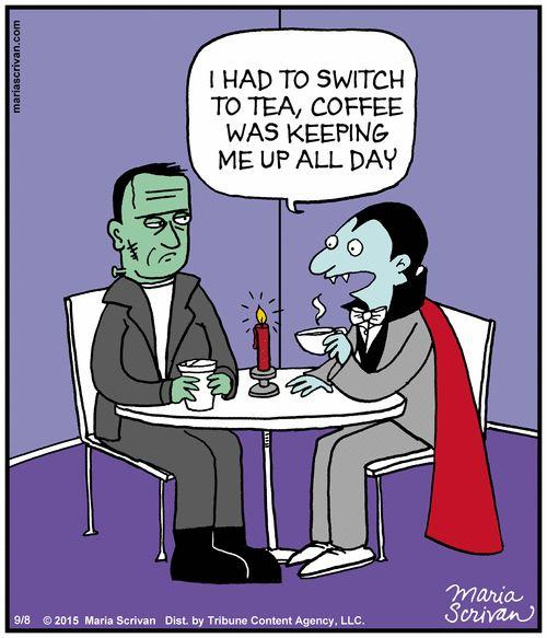 Too Funny Coffee Cartoon   Half Full   #coffee_funnies #vampires