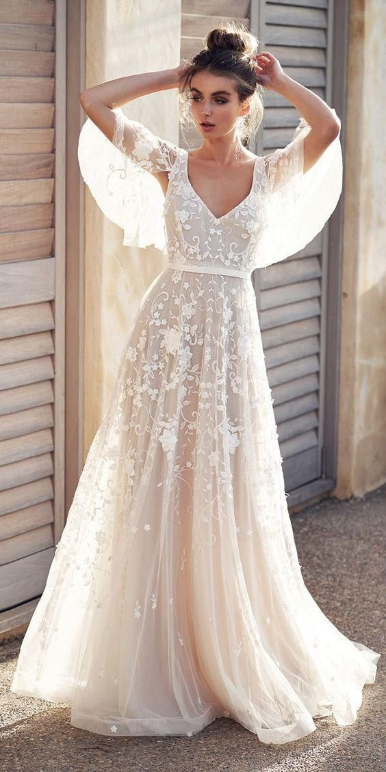 Sexy Backless Beach Boho Lace Wedding Dresses A Line New 2019 Appliques Cheap Half Sleeve Country Holiday Bridal Gowns Wedding Dress