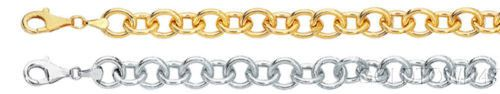 14k Yellow or White Gold Double Link Charm Bracelet with Lobster Clasp