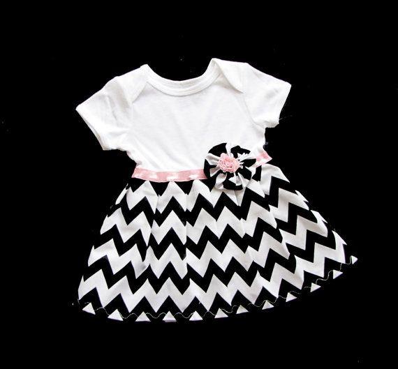 BOUTIQUE Baby CHEVRON Onesie DRESS... in black and white. $30.00, via Etsy.