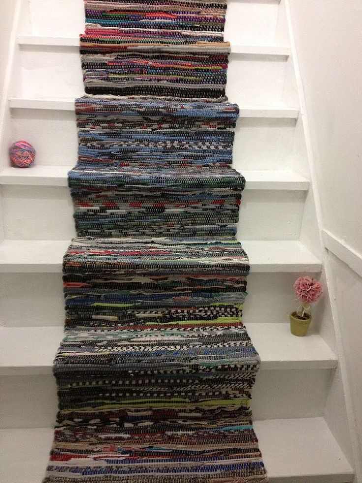 Use rag rugs as a colorful, shabby chic stair runner.