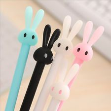 4pcs Kawaii Fun 0.38mm Gel Black ink Roller Ball Point Pen Rabbit Korean Random