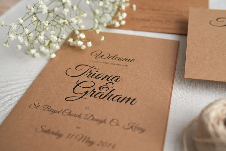 Rustic wedding invitations Kraft, brown paper