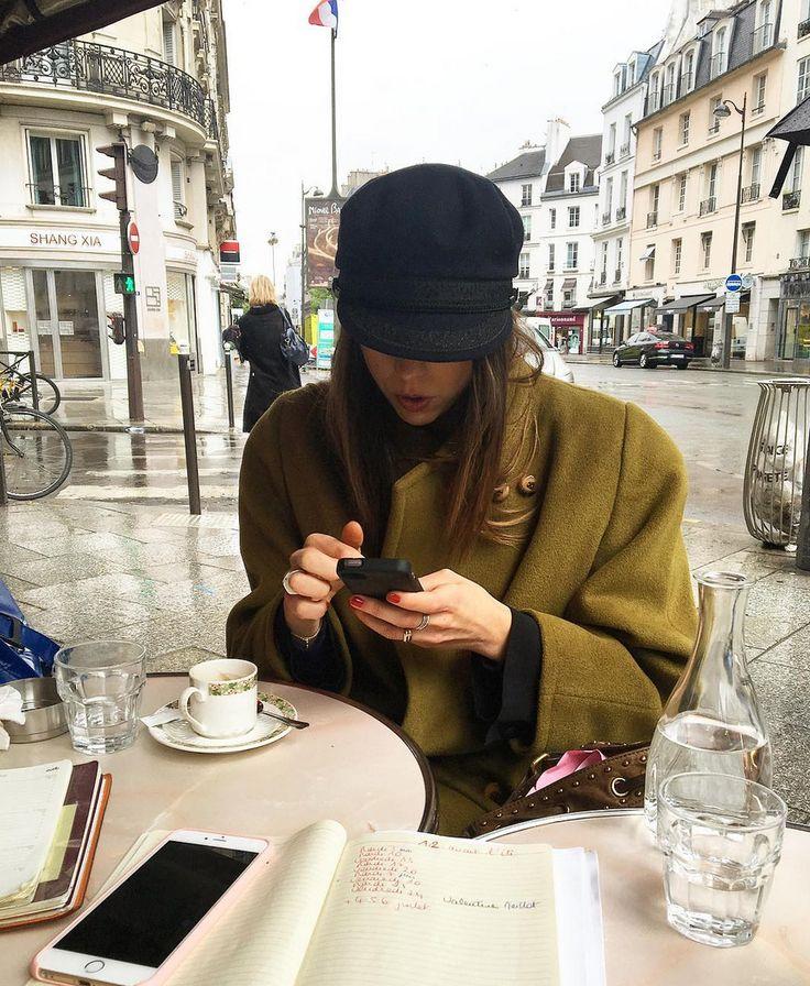 Olive green coat & mariners hat   @styleminimalism