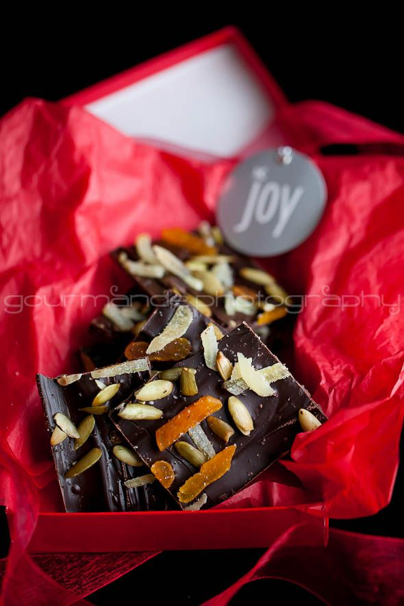 Dark Chocolate Almond Bark with Ginger and Pumpkin Seeds from Sylvie | Gourmande in the Kitchen