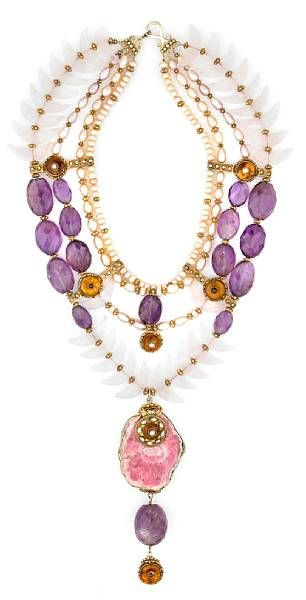 Tony Duquette, vintage biwa pearl, amethyst, rose quartz, amber, garnet, rhodochrosite and vermeil necklace, sold for $8,540.00