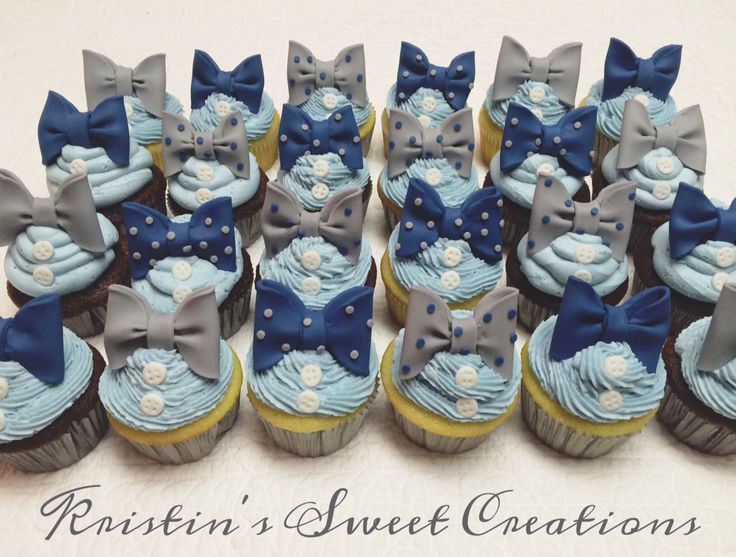 Bow ties and buttons baby shower cupcakes. Would also be great for a first birthday! Navy, gray, and baby blue color scheme.