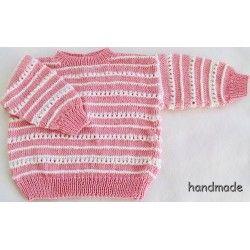 Svetr dětský ručně pletený, růžový, vel. 80 - 86