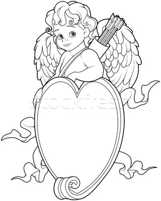 Cupid Over a Heart Shape Sign. Coloring Page Foto stock © Dazdraperma