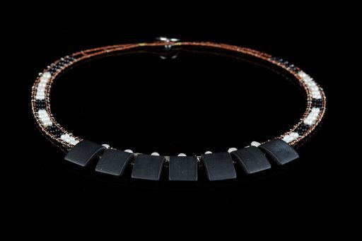 Choker with Agate, Murano Glass, Onyx, Tourmaline, Pearl and signature silver fastening (#1455).