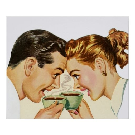 Coffee, Couple, Mid-Century, Vintage Poster