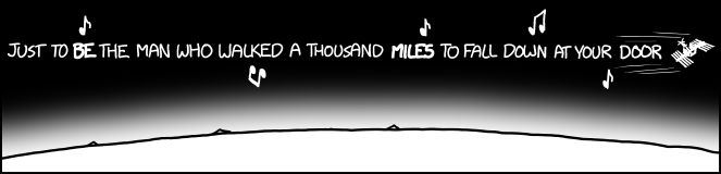 """XKCD """"WHAT IF"""" is generally awesome, but today was particularly awesome for those of us who like math and like The Proclaimers and think space is really cool... so me."""
