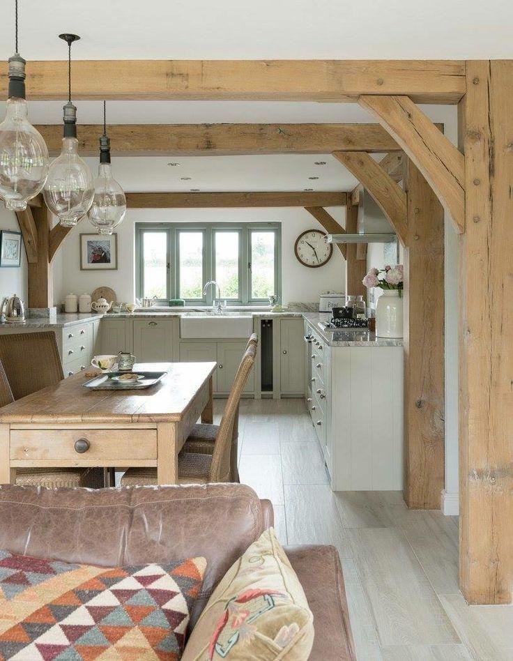 Eichenholzrahmen würden einen schönen Übergang zwischen unserer Lounge und de