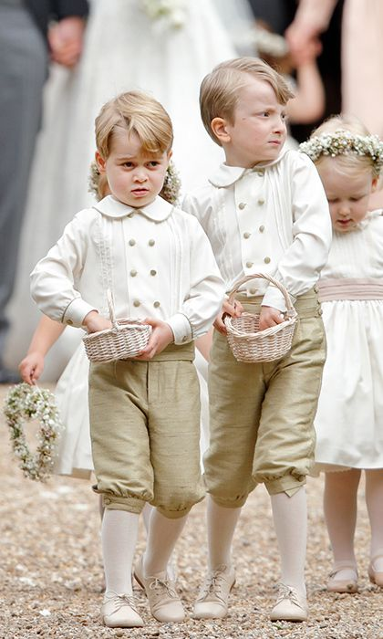 fa3d4fe017 Prince George wore a darling outfit as pageboy at Pippa's wedding - a  double-breasted shirt with gold buttons, golden knee shorts, cream tights  and matching ...