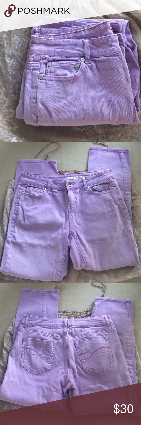 "DKNY lavender jeans Really cute lively lavender jeans by DKNY.  Like new condition.  16.5"" across waist. 8.5"" front rise.  26"" inseam.  Leg opening is 7"". These have a boyfriend vibe fit.  In reality the lavender is less bright. The last picture is closer  to the true lavender color. DKNY Jeans Ankle & Cropped"