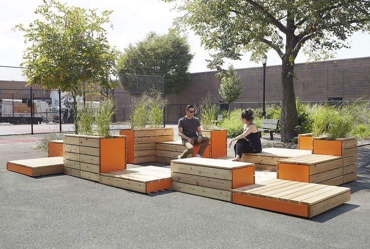 Michael Clyde Johnson, Untitled Benches, Patios, Planters in Arrangement (Parklet for Ennis Playground), photograph by Patryce Bak