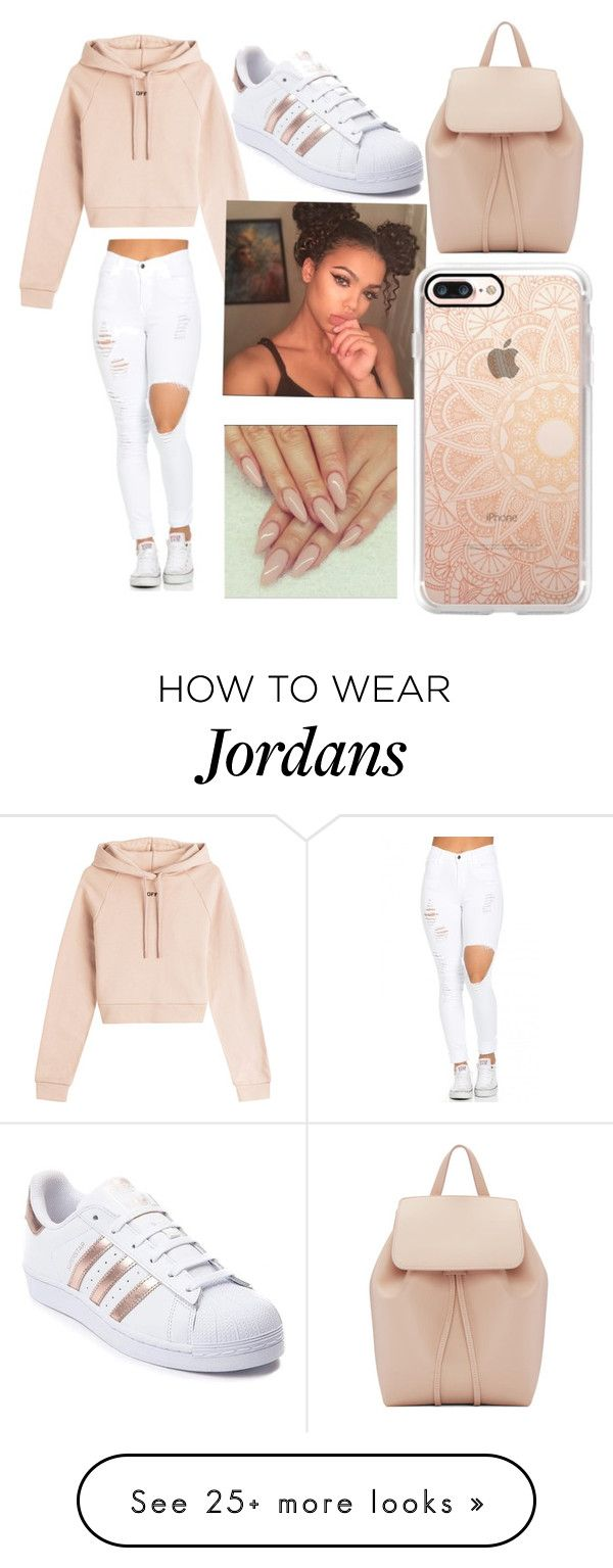 """Hey bitches it's queen Jordan"" by youngmrstiller on Polyvore featuring Off-White, adidas, Mansur Gavriel and Casetify"