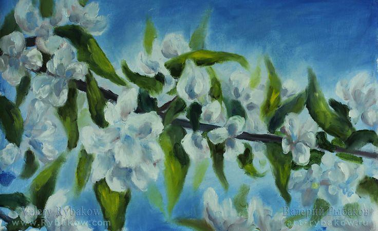 Весеннее цветущее настроение - новая цветочная весенняя живопись маслом на холсте.