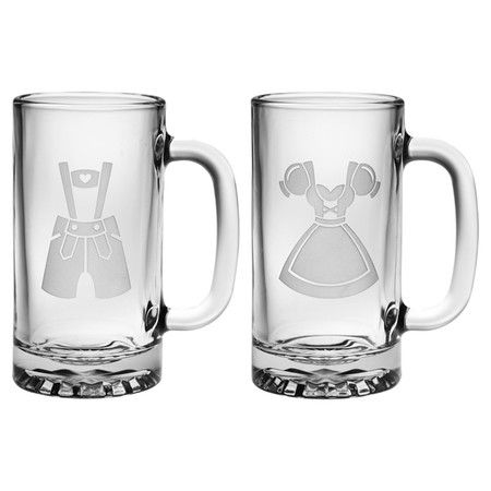 Each sand-etched with traditional Bavarian costumes, these 2 mugs are the classic way to imbibe your favorite beers.  Product: S...: Gretel Mugs, Favorite Beers, Gift, Beer Glasses, Mugs Set, Bavarian Costumes, Beer Mugsconstruction, Adorable Products