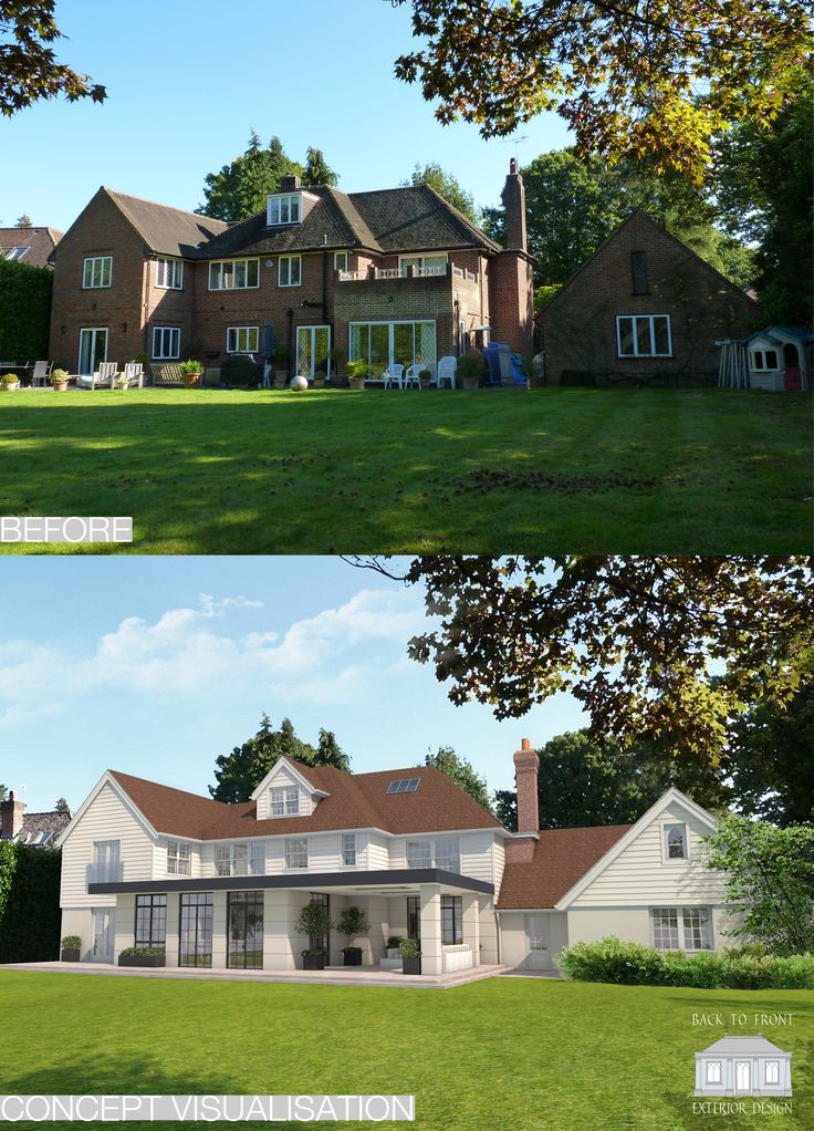 Remodelling project in Surrey by Back to Front Exterior Design using a combination of external materials