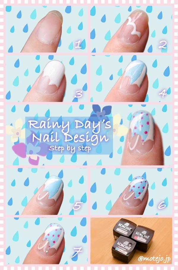 梅雨ネイルは傘デザインが可愛い♪雨の日に真似したいネイル講座 - 恋愛術のモテージョ http://motejo.jp/beauty/rainy-days-umbrella-nail.html  #nail #nailart #naildesign #howto #tutorial #beauty #rain #water #umbrella #cute #girl