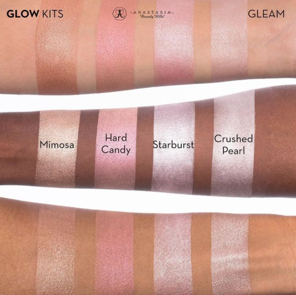 Gleam Glow Kit swatches this is a highlighter kit! Four colors per kit $40❤️ #abhglow
