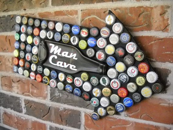 Man Cave Sign Beer Bottle Caps Mosaic with by LittleJewelBoutique, $50.00