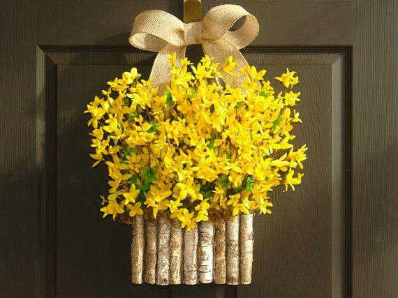 spring wreath forsythia wreaths birch bark vases DIY wreath burlap bow Easter wreaths DIY wreaths