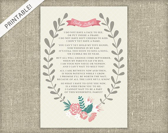 New Baby Announcement Poem  Printable Card  by ApplesAndElephants