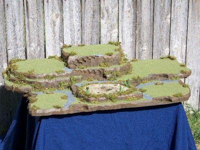 Rolling hills fish pond halloween village platform display for Fish pond base