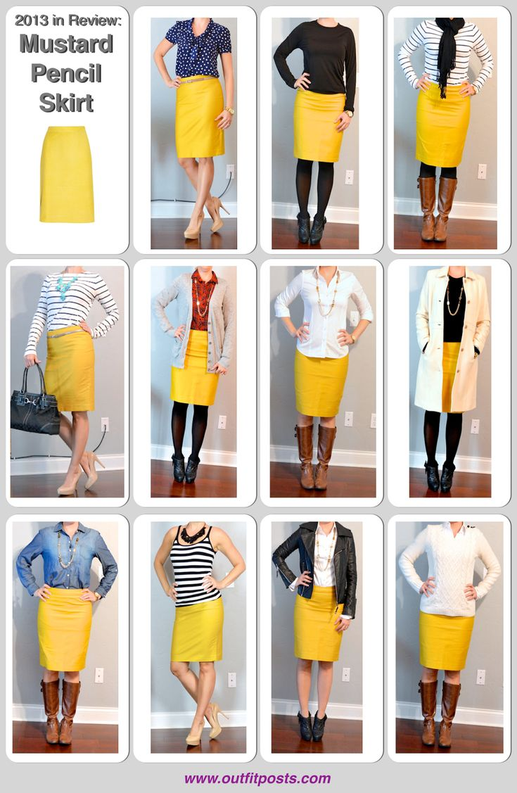 2013 in review - outfit posts: mustard pencil skirt