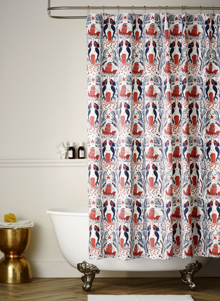 Mermaid (Red Coral) shower curtain designed by Dinara Mirtalipova for Hygge & West